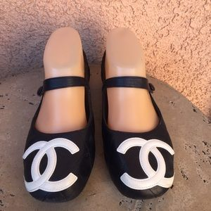 Chanel Mary Jane Quilted Blue Ballet Flats Size 6